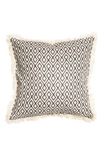 Fringed cushion cover - Natural white/Anthracite grey - Home All | H&M CN 2
