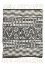 Jacquard-weave blanket - Natural white/Anthracite grey - Home All | H&M CN 2