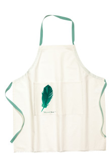 Apron with a feather motif