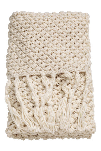 Chunky-knit blanket - Natural white - Home All | H&M CN 1