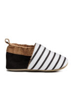 Soft slippers - White/Dark grey striped - Kids | H&M CN 1