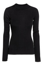 Rib-knit jumper - Black - Ladies | H&M CN 1