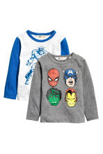2-pack long-sleeved T-shirts - White/Marvel Comics -  | H&M 2