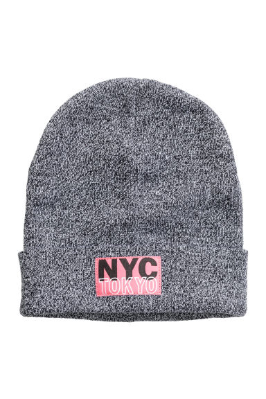 Knitted hat - Black marl/New York - Kids | H&M