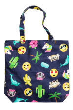 Patterned tote bag - Dark blue/Emoji - Kids | H&M CN 1