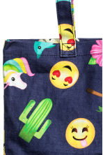 Patterned tote bag - Dark blue/Emoji - Kids | H&M CN 2