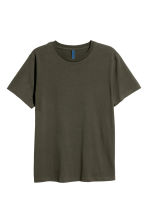 Round-necked T-shirt - Dark khaki green - Men | H&M CN 2