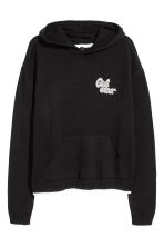 Fine-knit hooded jumper - Black - Ladies | H&M CN 2