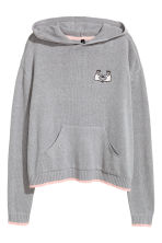Fine-knit hooded jumper - Grey - Ladies | H&M CN 2