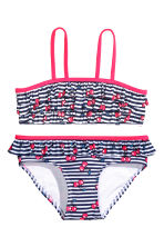 Frilled bikini - Dark blue/Striped - Kids | H&M 1