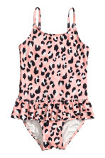 Swimsuit with a frill - Pink/Leopard print -  | H&M CN 1