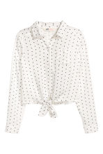 Tie-front blouse - White/Spotted -  | H&M 2