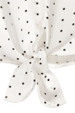 Tie-front blouse - White/Spotted -  | H&M 3