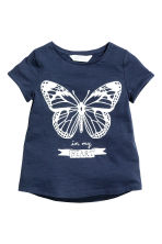 Short-sleeved top - Dark blue/Butterfly -  | H&M 2
