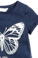 Short-sleeved top - Dark blue/Butterfly -  | H&M 3