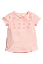 Short-sleeved top - Light pink/Butterflies -  | H&M CA 2