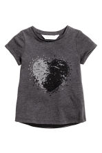 Short-sleeved top - Dark grey/Heart - Kids | H&M CN 2