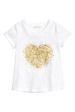 Short-sleeved top - White/Heart -  | H&M CN 2