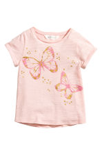 Short-sleeved top - Light pink/Butterflies -  | H&M 2