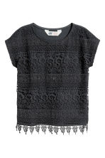 Top with lace - Dark grey - Kids | H&M CN 2