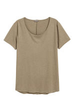 Raw-edge T-shirt - Khaki beige - Men | H&M CN 2