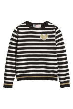 Fine-knit jumper - Black/White/Striped - Kids | H&M CN 2