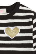 Fine-knit jumper - Black/White/Striped - Kids | H&M CN 3