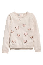 Sequined jumper - Light beige/Butterflies - Kids | H&M 2