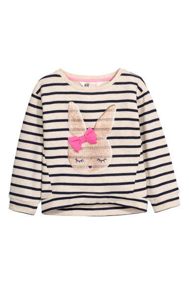 Sweatshirt with sequins - Light beige/Rabbit -  | H&M CN 1