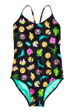 Patterned swimsuit - Dark blue/Emoji - Kids | H&M CN 1