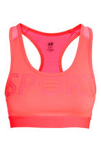 Sports bra Medium support - Neon coral - Ladies | H&M 2