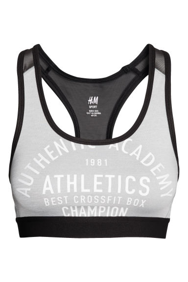 Sports bra Medium support - Light grey - Ladies | H&M CN 1