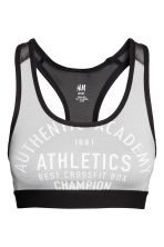 Sports bra Medium support - Light grey - Ladies | H&M 1