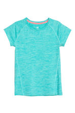 Short-sleeved sports top - Turquoise marl - Kids | H&M 2