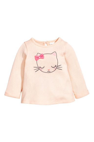 Fine-knit jumper - Powder pink/Cat - Kids | H&M 1