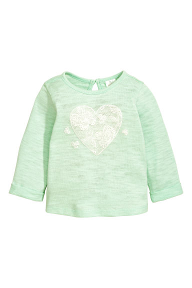 Fine-knit jumper - Mint green/Heart - Kids | H&M CN 1
