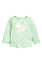 Fine-knit jumper - Mint green/Heart - Kids | H&M 1