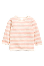 Knitted cotton jumper - Light pink/Striped -  | H&M CN 1