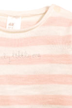 Knitted cotton jumper - Light pink/Striped -  | H&M CN 2