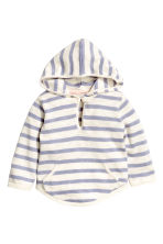 Fine-knit hooded jumper - White/Purple stripe -  | H&M 1