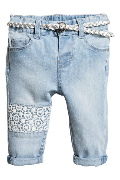 Jeans with lace - Light denim blue -  | H&M