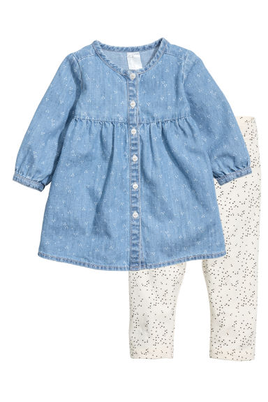 Dress and leggings - Denim blue - Kids | H&M CN 1