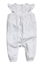 Cotton romper suit - Light grey/Spotted - Kids | H&M 1