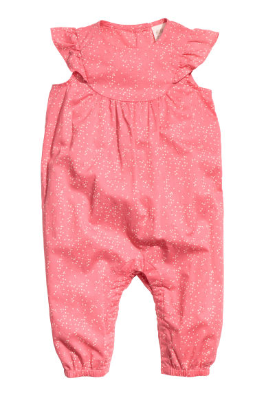 Cotton romper suit - Coral pink/Spotted - Kids | H&M CN 1