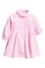Cotton dress - Pink/White striped -  | H&M 1