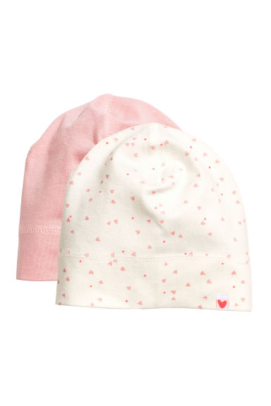 Lot de 2 bonnets en jersey - Rose clair - ENFANT | H&M FR 1