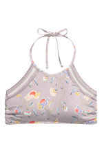 Halterneck bikini top - Light mole/Floral - Ladies | H&M CN 2