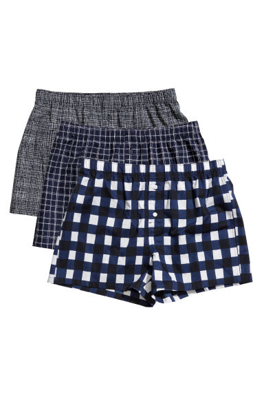 3-pack boxer shorts - Dark blue/Checked - Men | H&M CN 1
