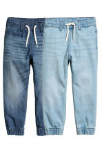 2-pack denim joggers - Denim blue/Light denim blue -  | H&M 2