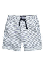 鬆緊帶短褲 - White/Dark blue/Striped -  | H&M 2